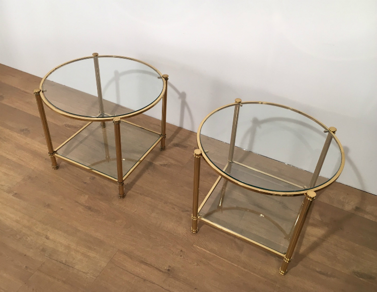 Pair Of Round Brass 2 Tiers Side Tables. Circa 1970