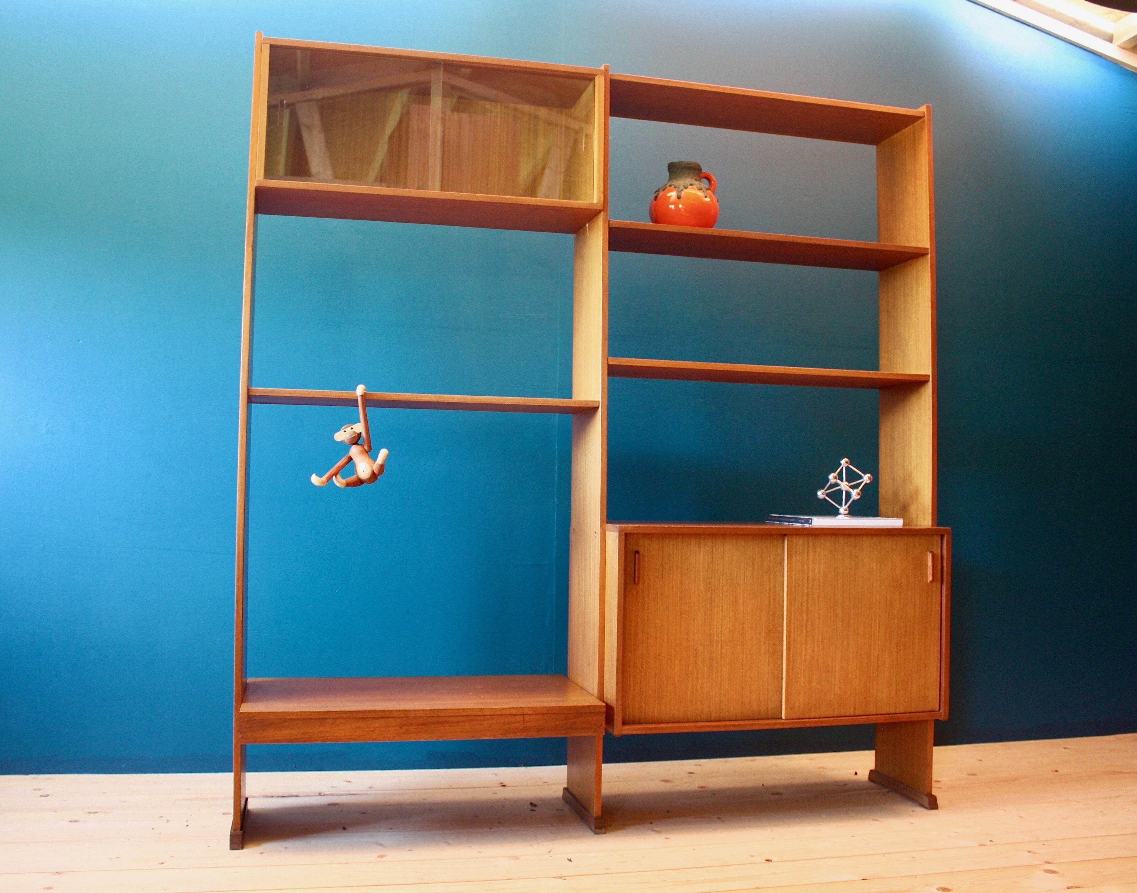 Mid Century Modern Teak Shelving Room Divider Retro Vintage 60s Vinterior