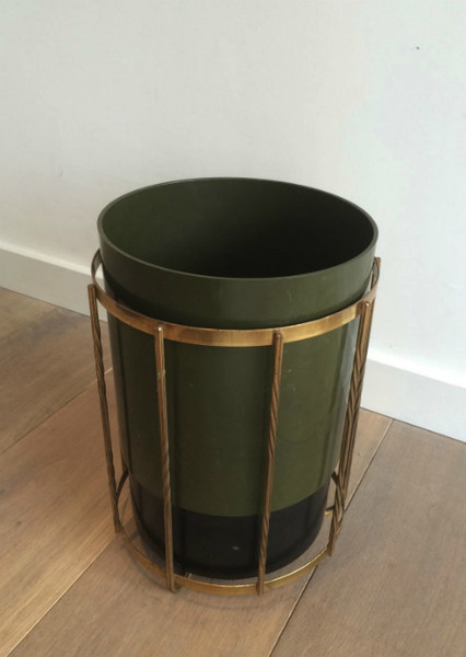 Brass And Plastic Basket. Vers 1970