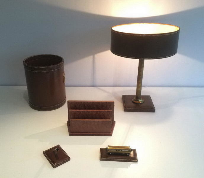 Set Of Leather Lamp, Basket, Paper Holder, Diary And Pen Holder. Circa 1970