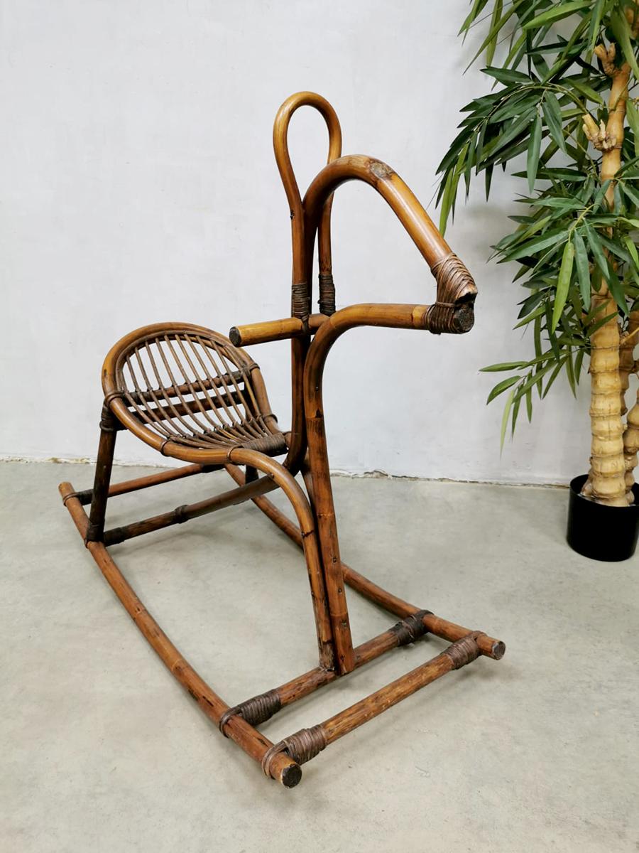 Midcentury Italian Bamboo Rattan Rocking Horse Rattan Bamboo Rocking Horse Unknown Vinterior