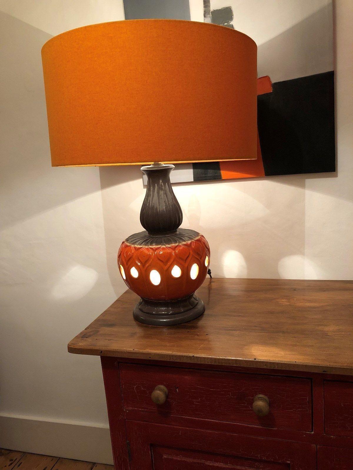 Vintage Table Lamp Base Art Pottery Striking Design Orange Brown Circa 1960s Vgc
