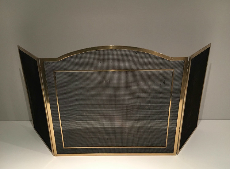 Brass And Iron Fire Screen. Circa 1960