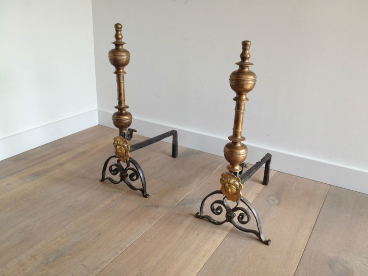 "Pair Of Brass And Wrought Iron ""Le Roi Soleil"" Andirons. 18th Century (Bronze Medaillon Probably Added In 19th Century)"