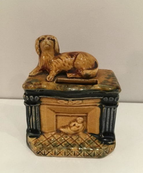 Dog On The Mantel. English Earthenware Pyrogenic. Circa 1880