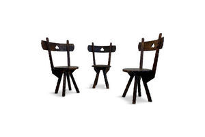 Thumb set of three early 20th century primitive folk chairs 0