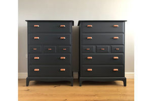 Thumb a pair of stag tallboys painted blue with copper handles 0