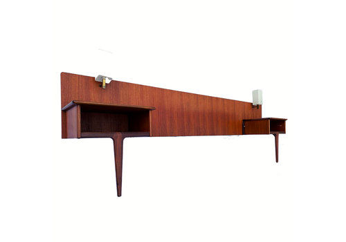 Mid Century Headboard, Bedside Tables And Lamps In Teak And Afromosia By A. Younger Vintage Retro 1960's