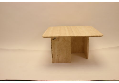Very Nice Carrée Marbre Travertin Coffeesable French Made In The 70s