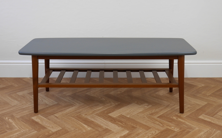 Vintage Mid Century Teak Coffee Table With Dark Grey Top ...