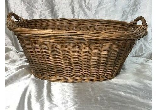 Vintage 20th Century French Large Country Hand Crafted Rattan Log Basket Carry Handles