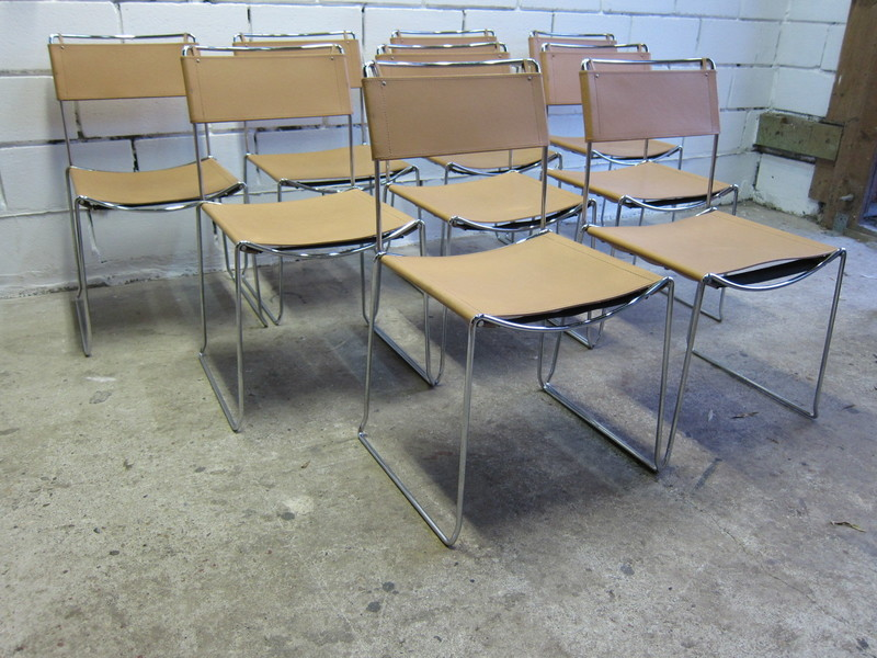 Vintage Leather Wire Frame Chairs 9x