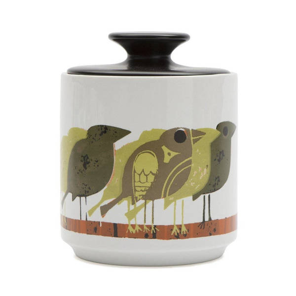 Unique And Whimsical Mustard Yellow Birds Storage Jar