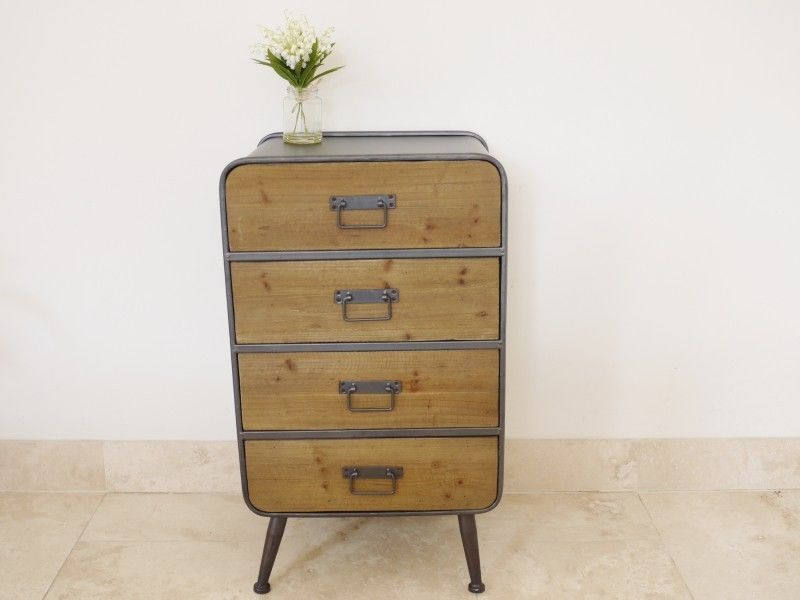 Industrial Chest Retro Urban Vintage 4 Drawer Chest Sideboard Cabinet