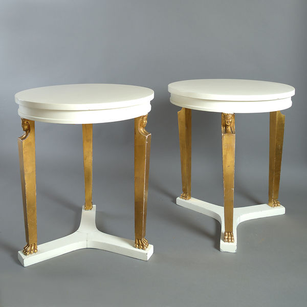 Mid 20th Century Pair Of Neo Classical Circular End Tables