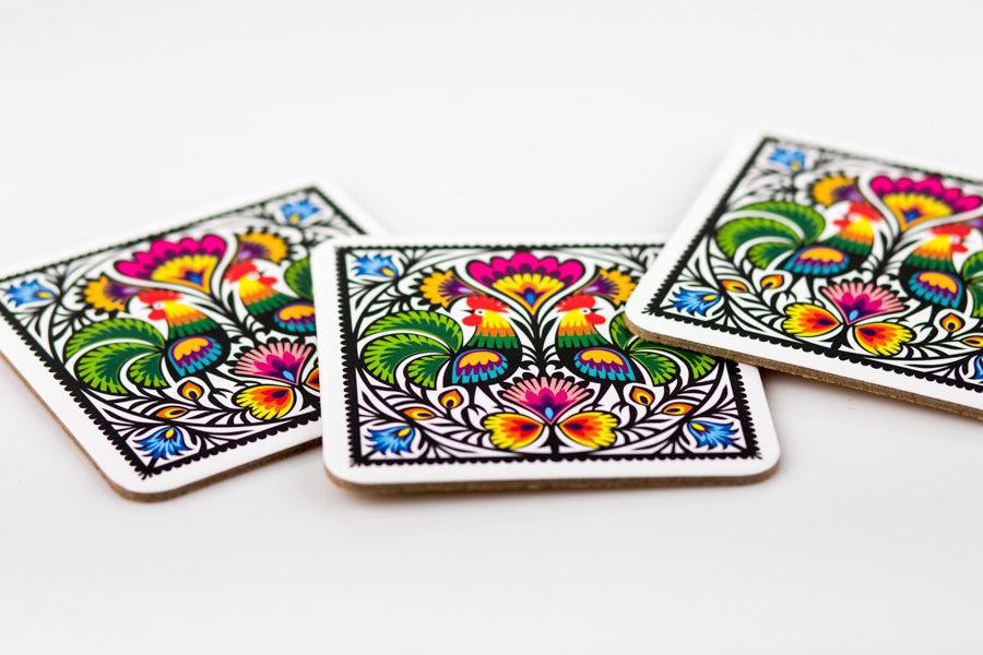 Set Of 4 Coasters. Polish Scandinavian Art