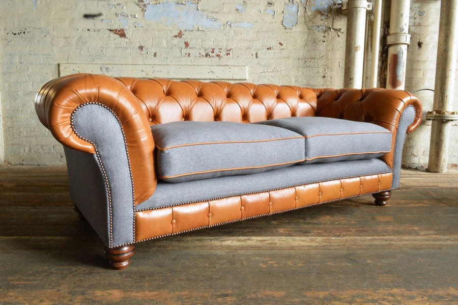 Vintage Tan Leather & Grey Wool Chesterfield 3 Seater Sofa