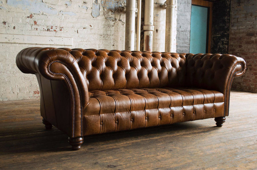 Vintage Tan Leather Chesterfield 3 Seater Sofa