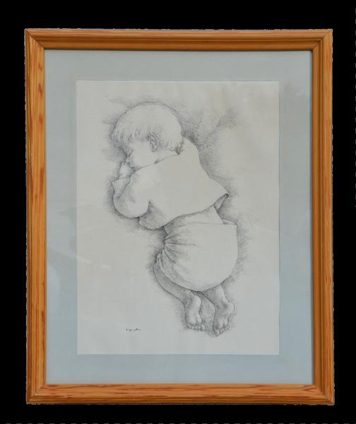 Vintage Large Framed Pencil Sketch Drawing Of Baby Signed By Olsen Circa 1970s Vinterior