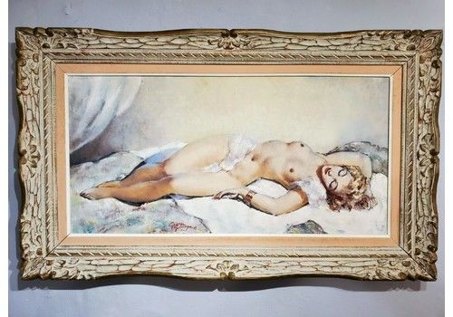 Guinegault Large Art Deco Oil On Canvas Reclining Girl C1930