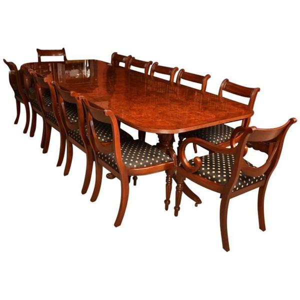 Burr Walnut 10ft Regency Style Dining Table 12 Swag Chairs photo 1