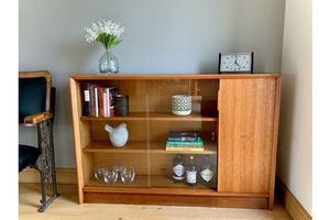 Thumb mid century low glazed bookcase unit in teak by gibbs 1950s 0