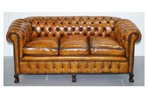 Thumb fully restored victorian chesterfield brown leather club sofa claw ball feet 0