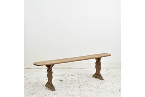 Thumb french antique oak bench 1950s 0