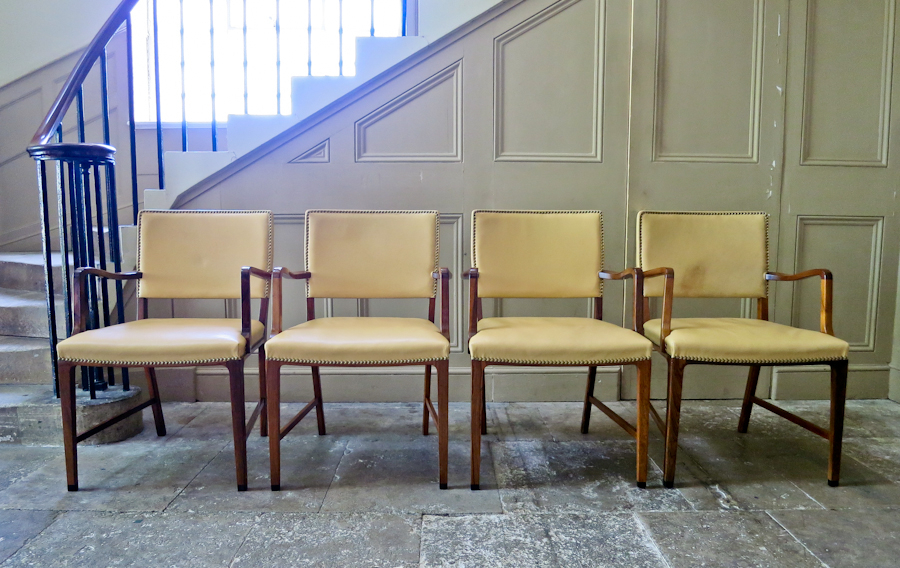 A Set Of Four Lounge Chairs In Rosewood And Leather By A Danish Cabinetmaker photo 1