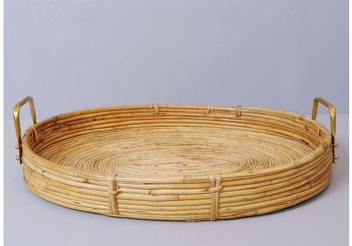 Bent Oval Rattan Serving Tray With Brass Finish Handles