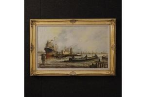 Thumb dutch signed painting seascape with boats unknown 0