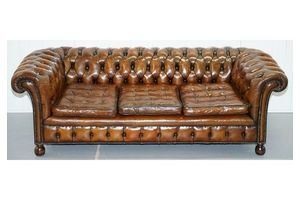 Thumb fully sprung thomas chippendale restored aged brown leather chesterfield sofa 0