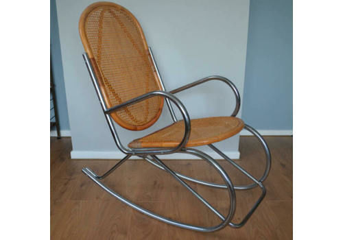 Mid Century Chrome And Bamboo Rocking Chair