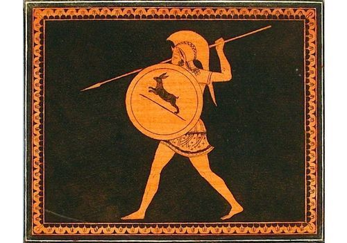 D'hancarville Pierre Francois Hugues 1719 = 1805   Engraving   Greek Vase From Hamilton   Warrior With Helmet, Spear And Shield