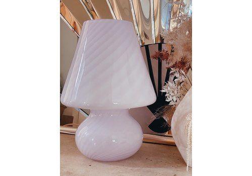 Pink Murano Glass Mushroom Lamp