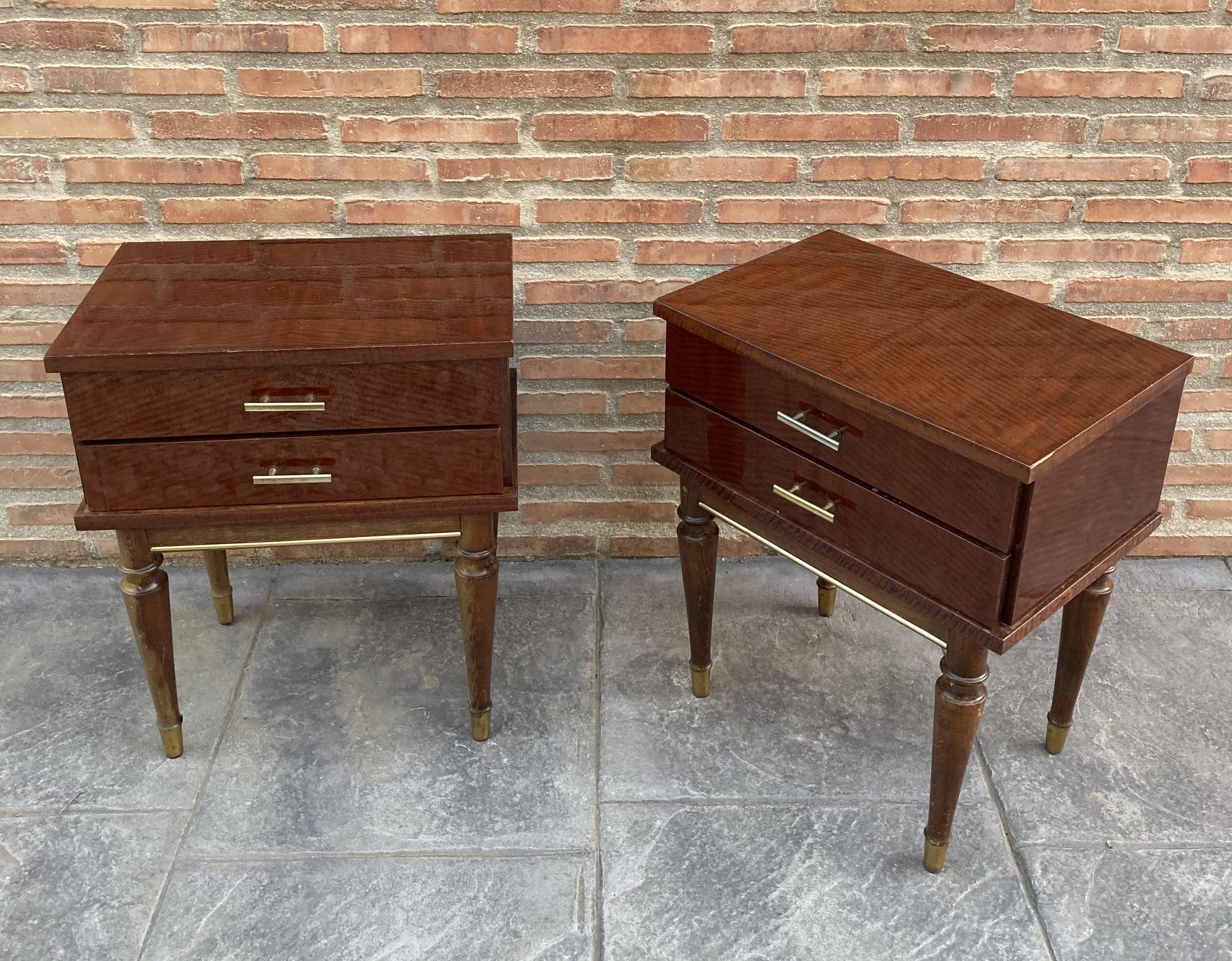 Vintage Wood Nightstands 1970s Set Of 2 Vinterior