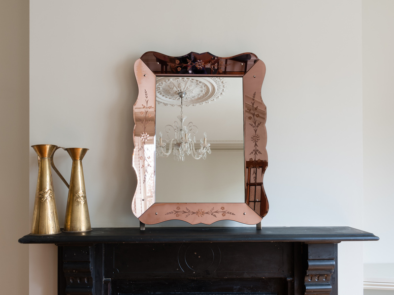 Vintage French Bronze And Clear Glass Etched Mirror photo 1