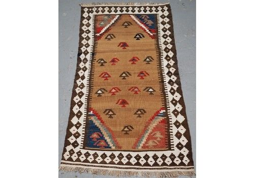 Antique Small Tribal Kilim By The Luri Or Bakhtiari, Camel Wool And Cotton, Circa 1900.