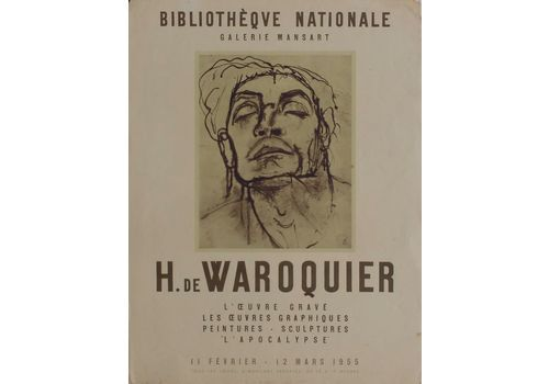 De Waroquier Henry (1881 1970) Mourlot Lithograph Poster National Library Exhibition 1955