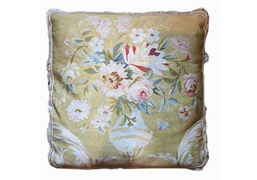 French Aubusson Style Cushion Cover, Handwoven Oriental Wool Scatter Cushion