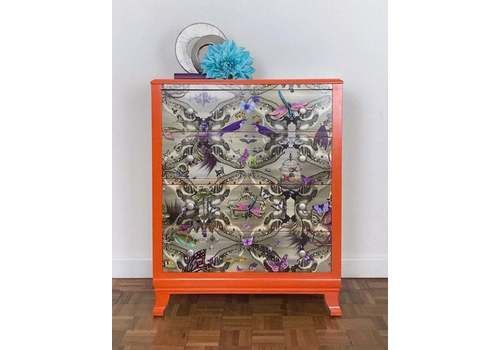 Bright Orange Four Drawer Chest Of Drawers, Decoupaged With Santorus Paper