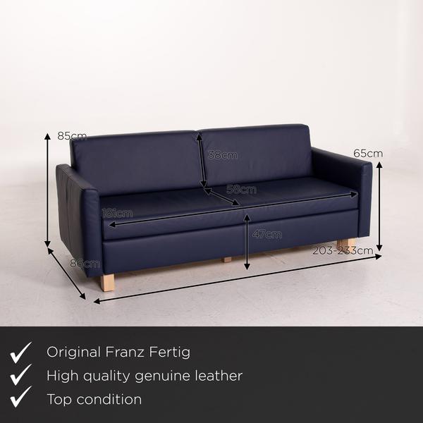 Franz Fertig Minnie Leather Sofa Bed Blue Dark Blue Two Seater Sleeping Function Function Sofa Couch Vinterior