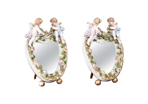 Pair Of Antique Continental Porcelain Heart Shaped Mirrors