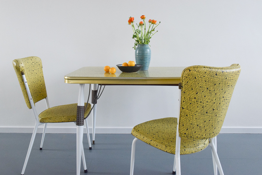 Vintage Yellow Atomic Patterned Formica Kitchen Table And Two Chairs By Steelux Of London England Steelux Vinterior