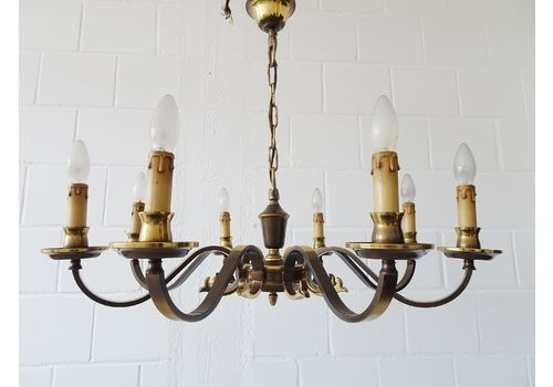 Large Brass Chandelier With Eight Flames ø 77 Cm, Corridor Lighting