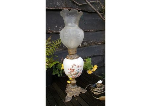 Antique Oil Lamp, Large, Converted To Elect., Peacock Painted Bowl ,76 Cms High