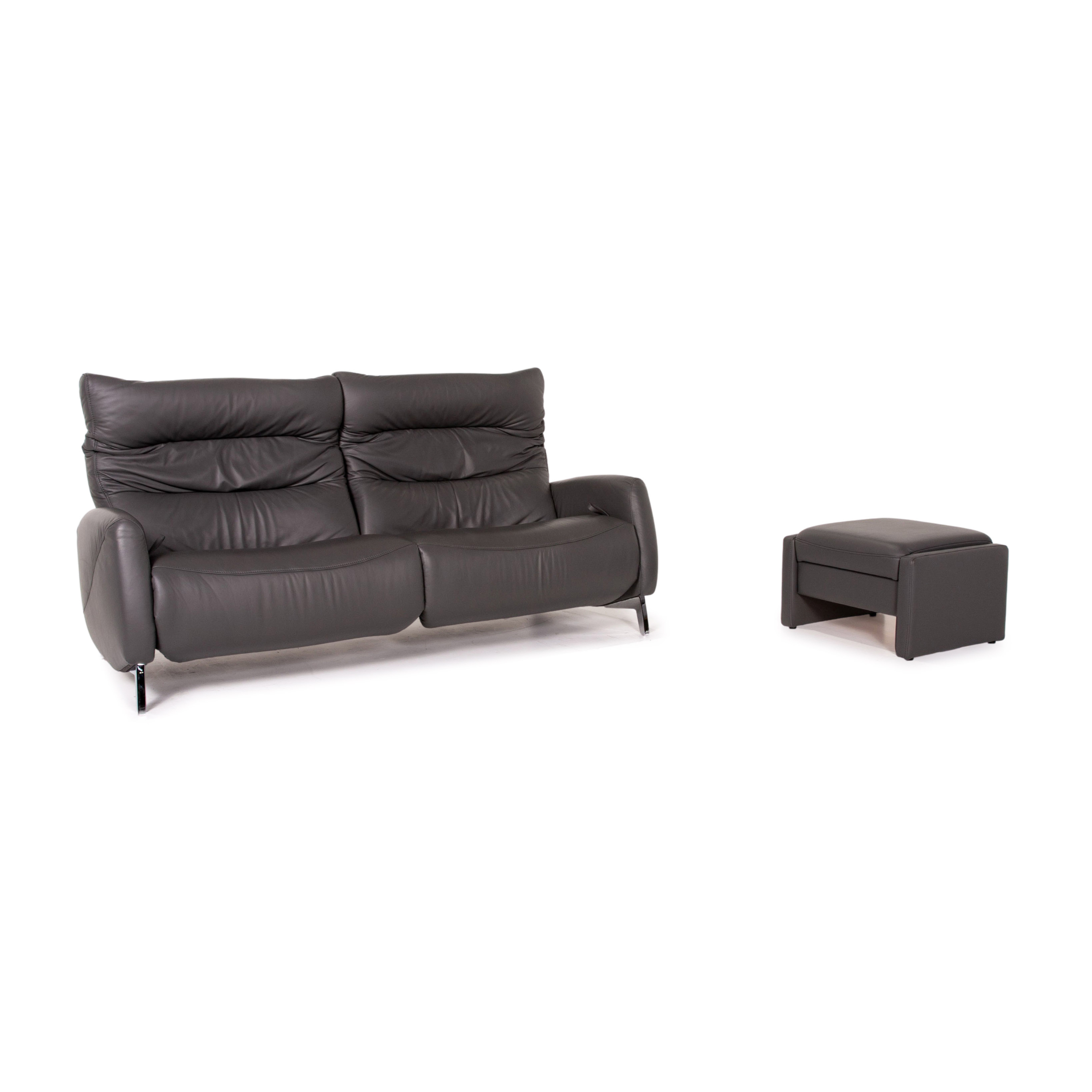 Mondo Recero Leather Sofa Gray Two Seater Function Relax Function Couch 14933 Komfort Vinterior