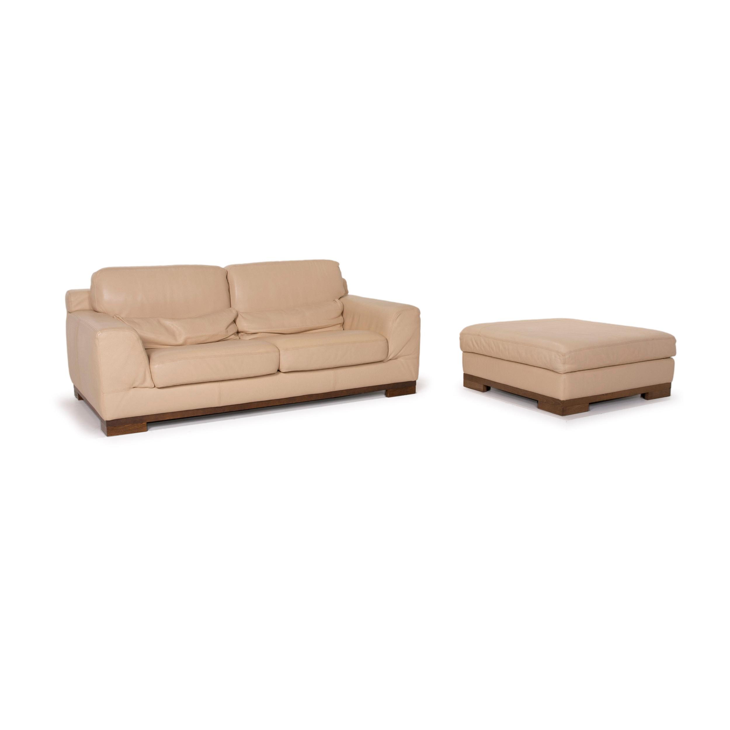 Natuzzi 12 Leather Sofa Set Beige Two Seater Ottoman 12
