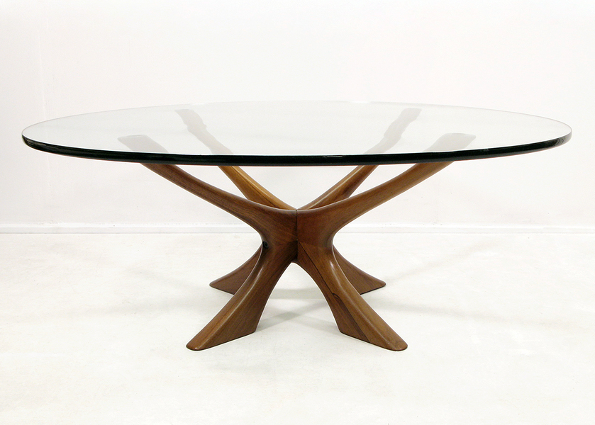 Illum Wikkelso Glass And Rosewood Coffee Table