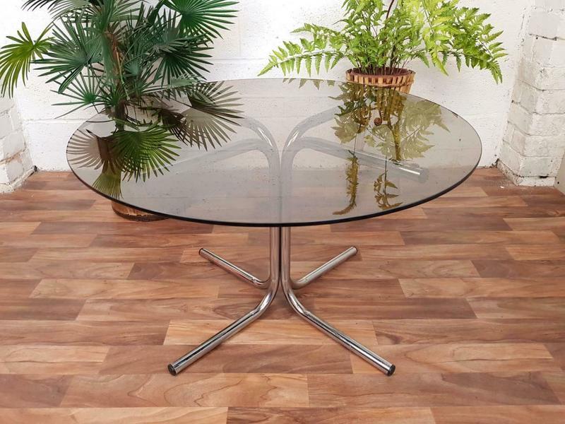 Vintage 1970 S Chrome Smoked Glass Round Coffee Table Mid Century Pieff Style Vinterior